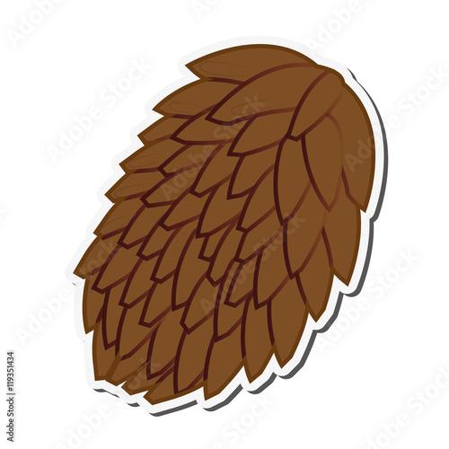 quotflat design single pine cone icon vector illustration