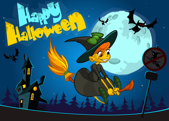 Cute witch flying on her broom. Vector Halloween poster