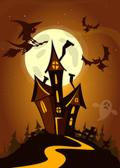 Scary house on night background with a full moon behind - Vector Halloween background
