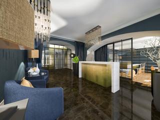 hotel reception 3d rendering
