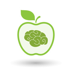 Isolated  line art apple icon with a brain