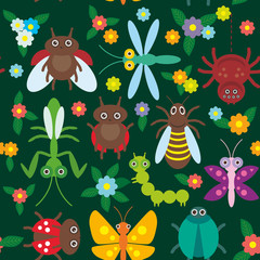 Funny insects Spider butterfly caterpillar dragonfly mantis beetle wasp ladybugs seamless pattern on green background with flowers and leaves. Vector