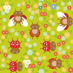 Funny insects ladybugs seamless pattern on green background with flowers and leaves. Vector