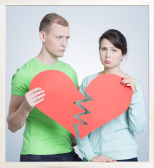 Couple with a broken heart
