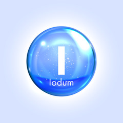 Iodum mineral blue icon. Vector 3D drop pill capsule