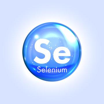 Selenium mineral blue icon. Vector 3D drop pill capsule