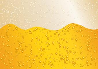 Seamless wide horizon beer background for Oktoberfest. Golden color. Vector illustration EPS 10.