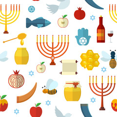 Rosh Hashanah, Shana Tova seamless pattern vector illustration.