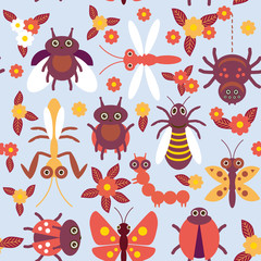 Funny insects Spider butterfly caterpillar dragonfly mantis beetle wasp ladybugs seamless pattern on blue background with flowers and leaves. Vector