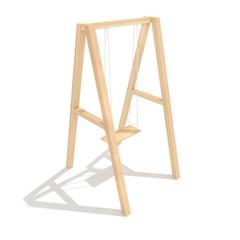 Baby wooden swing 3d render illustration