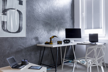 Home office in grey idea