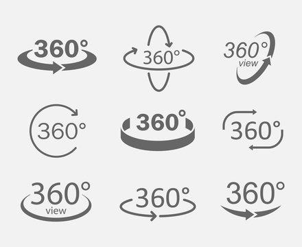 360 degree views icons