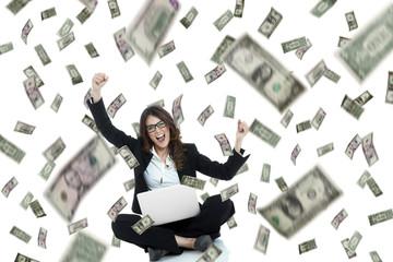 winning on line, money rain white background
