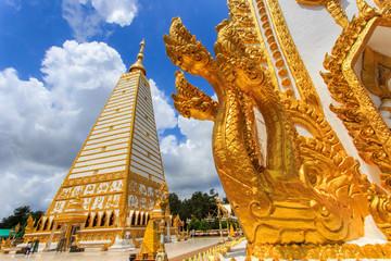Beautiful pagoda Wat Phrathat Nong Bua Temple in sunshine day at Ubon Ratchathani, Thailand