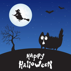 Happy Halloween card with  cartoon  cat,  witch and moon.