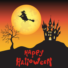 Halloween background  with  witch, moon  and  castle.