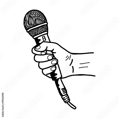 black and white cartoon microphone