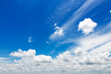 .Blue sky with white clouds.