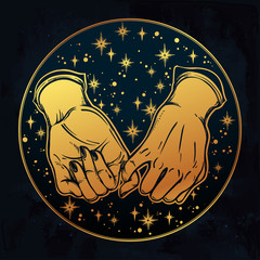 Pinky promise, hand holding. Trendy vector art