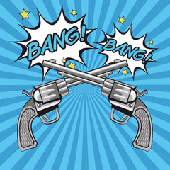 gun revolver bang bubble cowboy pop art comic cartoon icon. Colorful design striped background. Vector illustration