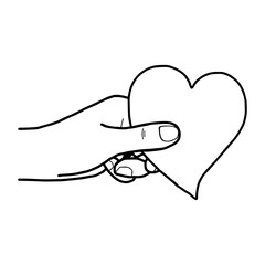 illustration vector hand draw doodles of hand holding heart isolated