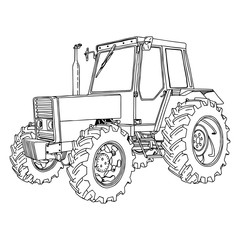 illustration vector doodle hand drawn of a tractor isolated