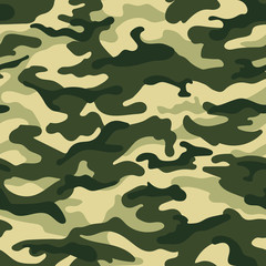 Army camouflage seamless pattern, green colors. Vector illustration