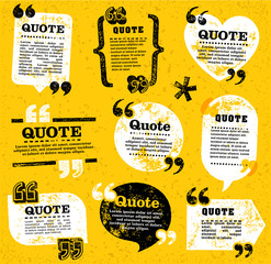 vector quote decoration labels set 4