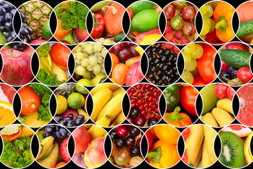 Collage of fresh fruits and vegetables. Background of useful products.