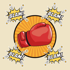 blam explosion glove boxing cartoon pop art comic retro communication icon. Colorful striped circle design. Vector illustration