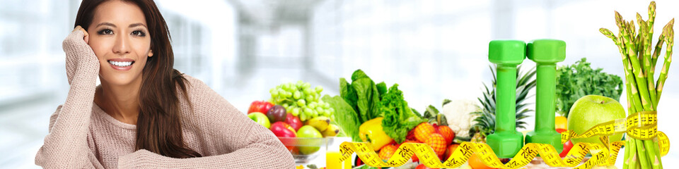 Fototapeta Beautiful asian woman with Vegetables and fruits.