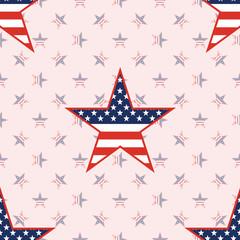 US patriotic stars seamless pattern on national stars background. American patriotic wallpaper with US patriotic stars. Surface pattern vector illustration.