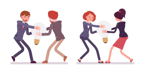 Struggle between businessmen and women in a formal wear for a lamp, idea. Cartoon vector flat-style concept illustration