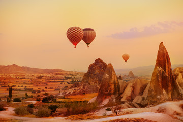 Hot air balloons flying over the picturesque Cappadocia region, Turkey Wall mural
