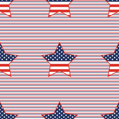 USA patriotic stars seamless pattern on red and blue diagonal stripes background. American patriotic wallpaper with USA patriotic stars. Tillable pattern vector illustration.