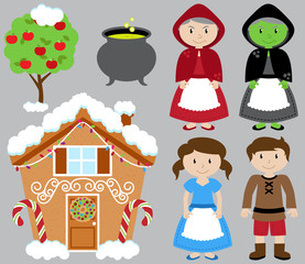 Hansel and Gretel Vector Collection with Witch and Gingerbread House
