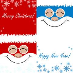 greeting card , Merry Christmas, Happy New Year, a set of santa