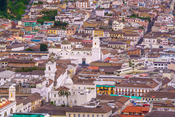View of the historic center of Quito
