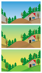spring landscape in flat style
