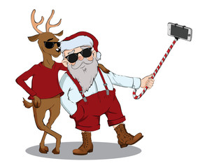 Santa Claus and deer make photo