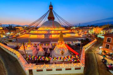 Papiers peints Edifice religieux Beautiful of boudhanath stupa in twilight time at Kathmandu Nepal