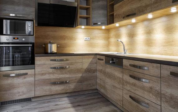 Brown kitchen unit