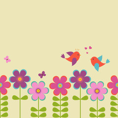 Vector postcard frame for the spring-summer theme.