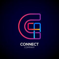 Letter G Logo Design.Linked shape square symbol,Digital