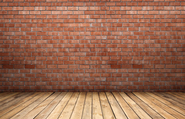 Red brick wall and wooden floor