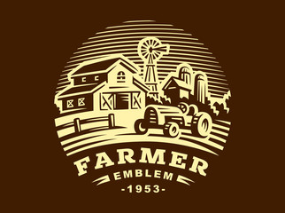 Illustration farm logo in vintage style