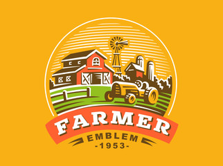Illustration farm logo, color version