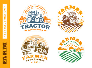 Set Illustration farm logo on dark background