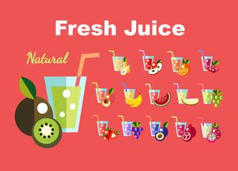 Icons set Fresh juice, fruit cocktail