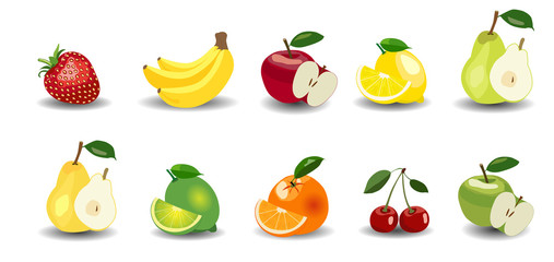 Fresh Apples, bananas, pears, oranges, lemon, lime, strawberry and cherry